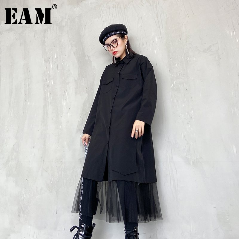 [EAM] Women Black Mesh Hemline Split Joint Shirt Dress New Lapel Long Sleeve Loose Fit Fashion Tide Spring Autumn 2020 1R799