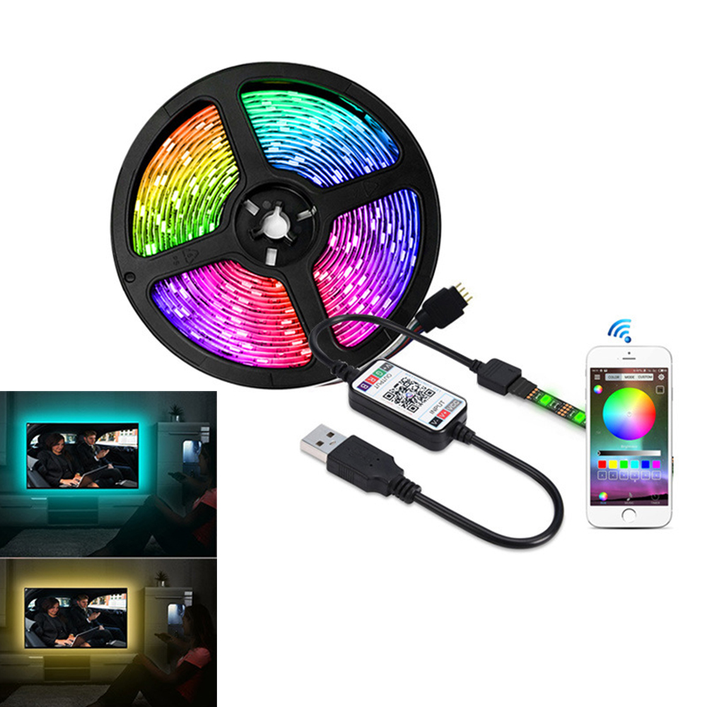 Music <font><b>LED</b></font> Strip Light <font><b>5V</b></font> <font><b>5050</b></font> RGB Music Sync 30Led/m Bluetooth <font><b>LED</b></font> Light Strip Sound Sensor APP Remote RGB Tape Ribbon Kit image