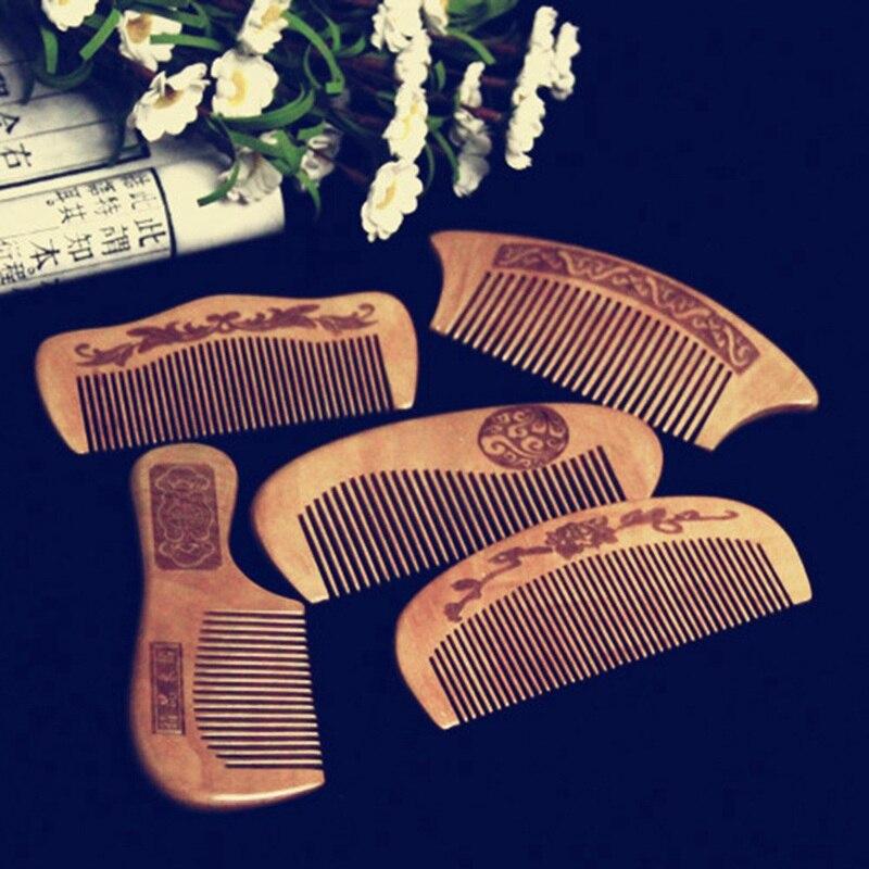 1Pcs Natural Peach Wood Comb Close Teeth Anti-static Detangling Beard Comb Head Massage Hairbrush Hair Care Tools