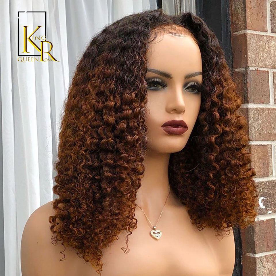 1B/27 Ombre Short Curly Bob 13x4 Lace Front Human Hair Wigs For Women Honey Blonde 150% Remy Brazilian Pre Plucked VSBOB