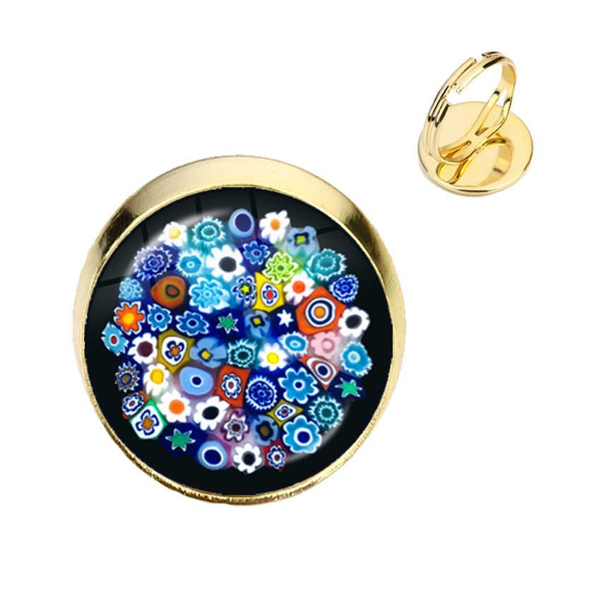 Murano Millefiori ayarlanabilir yüzük çok renkli çiçek 16mm cam Cabochon yüzük takı kadın erkek hediye için toptan