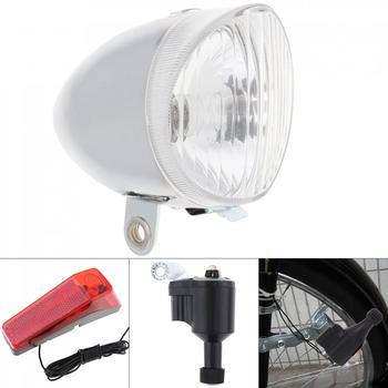 6V 3W Weiß Bike Fahrrad Dynamo Lichter LED Self-powered Front Licht Scheinwerfer und Rücklicht LED lampe Set Sicherheit für Fahrrad