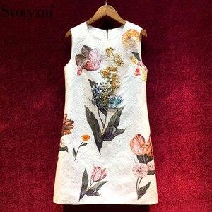 Женское жаккардовое платье-трапеция Svoryxiu, белое элегантное платье на бретелях, расшитое бисером, с цветочным принтом на лето 2020