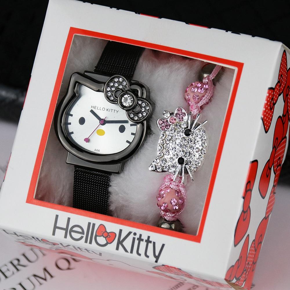 Мода милый мультфильм часы +% 2B KT кошка часы коробка +% 2B розовый браслет набор дети день рождения подарок студент часы дети% 27 часы