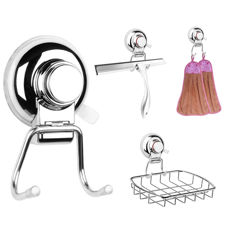 Stainless Steel Removable Vacuum Suction Cup Towel Bath Ball Robe Hooks Wall Mounted Hook Bathroom Kitchen Hook Holder