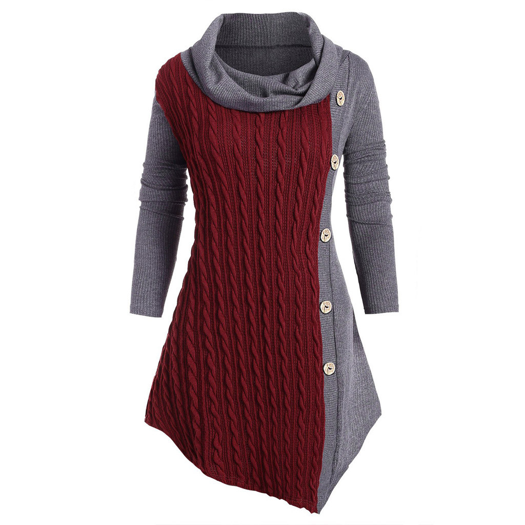 Stylish Bar Plus Size 5XL Winter Solid Buttons Tunic Sweater Women Warm Long Sleeve Knitted Pullover Sweaters Female Jumper Tops