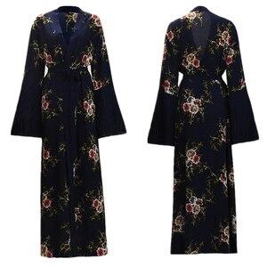Abayas for Women Muslim Dress Print Long Sleeve Lace Floral Islamic Turkish Clothing Jilbab Arab Ramadan Moroccan Kaftan Dresses