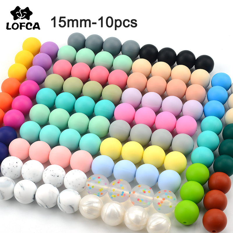 LOFCA 15 мм 10 шт./лот, силиконовые бусины для прорезывания зубов, Детские Прорезыватели для зубов, безопасные, пищевого качества, для кормления, ...