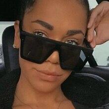 oversized square Sunglasses Women flat top men 2020 lady sha