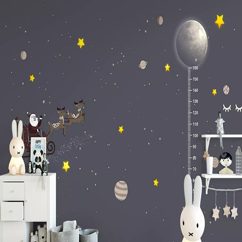 Custom Large Mural 3D Wallpaper Nordic Cartoon Height Stick Star Planet Child Bedroom Mural TV Back Wall Decor Deep 5D Embossed