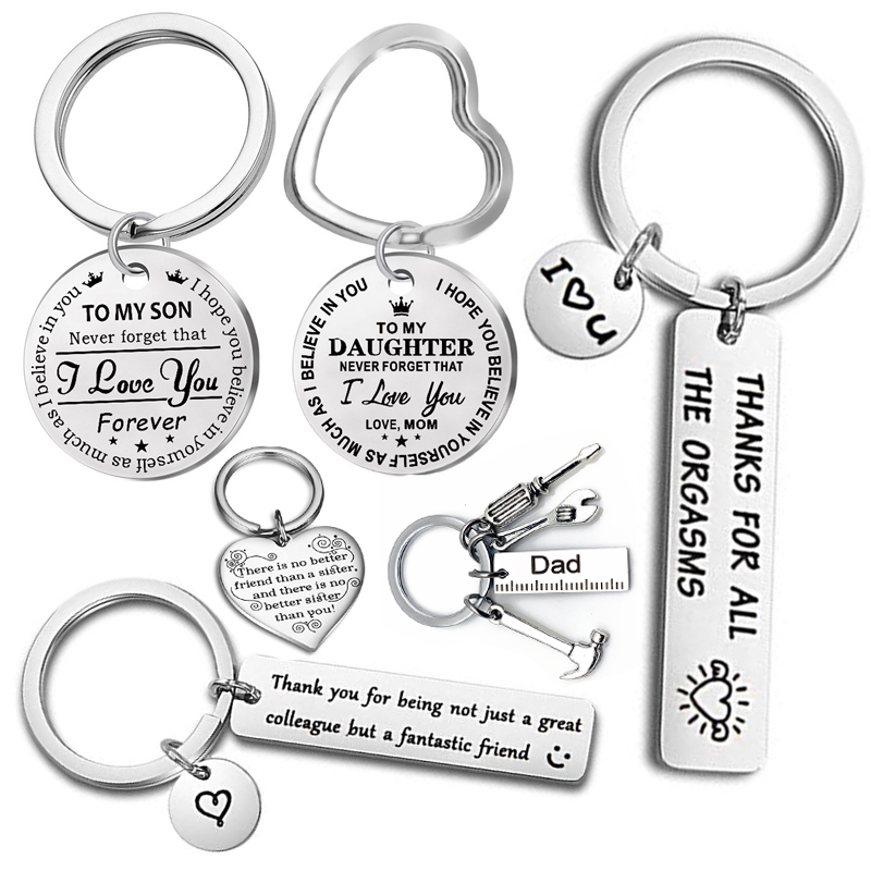 Fashion Keyring Drive Safe Name Stainless Steel Keychain Couples Key Rings Women Men Friend Family Key Chain Pendant Jewelry