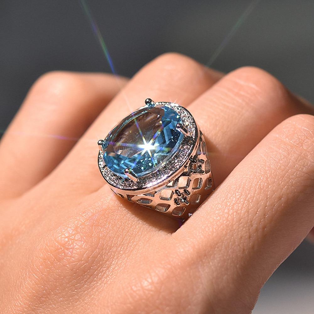 Aquamarine emerald gemstones blue green crystal zircon diamonds rings for women vintage luxury jewelry bijoux bague silver color