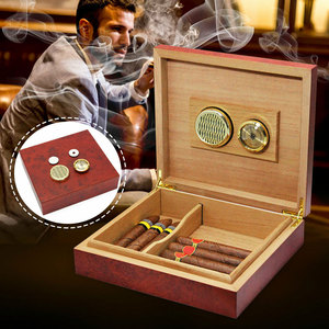 New Cedar Wood Lined Cigar Humidor Storage Case Box with Humidifier Hygrometer-30