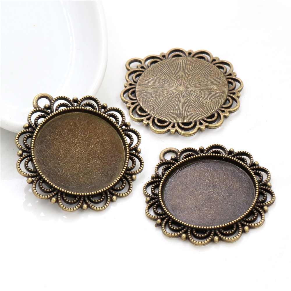 New Fashion  3pcs 25mm Inner Size Antique Bronze Colors Flower Style Cabochon Base Setting Charms Pendant-A3-02