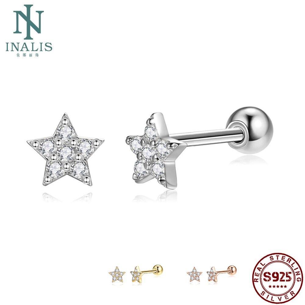 925 Sterling Silver Stud Earrings Women Full Clear Cubic Zirconia Star Small Earring Anniversary Hot Sale Fine Jewelry