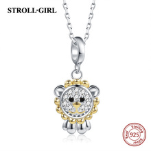 Strollgirl New Design 925 sterling silver Cute Animal Lion King Necklaces & Pendants Authentic Women Sterling Silver Jewelry