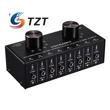 Apoio seletor de sinal de entrada de áudio do interruptor do seletor da entrada de tzt 6 em 2 para fora & 2 em 6 para fora portas de 3.5mm