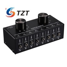 TZT Audio Input Selector Switch Audio Input Signal Selector Support 6 IN 2 OUT & 2 IN 6 OUT 3.5mm Ports
