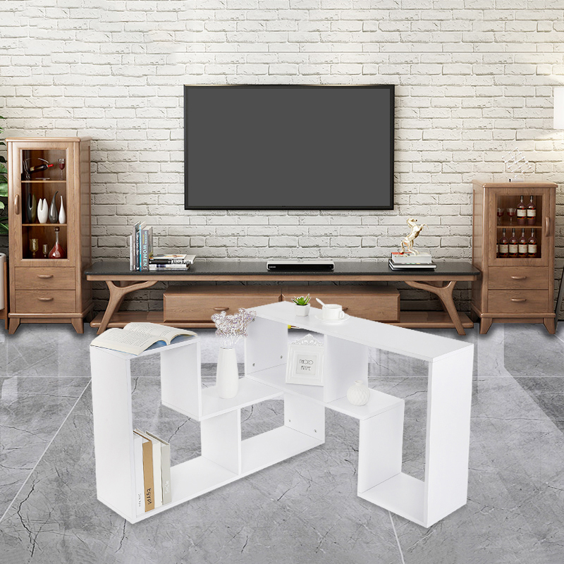 Multifunctional Three Compartments TV Cabinet Bookcase Coffee Table Can Be Stretched Display TV Stand Living Room Furniture HWC