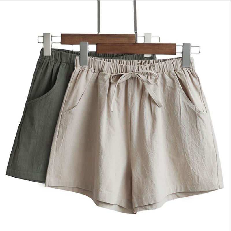 Women's Summer Linen Shorts Cotton Linen Trousers High Waist Women's Loose Comfortable Hot Pants