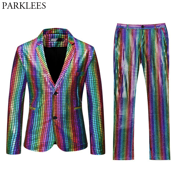 Mens Stage Prom Suits Gold Silver Rainbow Plaid Sequin Jacket Pants Men Dance Festival Christmas Halloween Party Costume Homme