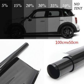 100x50cm ciemny czarny folia na okna samochodu szkło 5 -50 rolka lato samochód Auto okna domowe szkło barwienia ochrona przeciwsłoneczna tanie i dobre opinie 10-20 CN (pochodzenie) 0 2cminch 100cminch Boczna szyba Zabezpieczenie słoneczne na bocznym oknie 0 045kg Window Foils