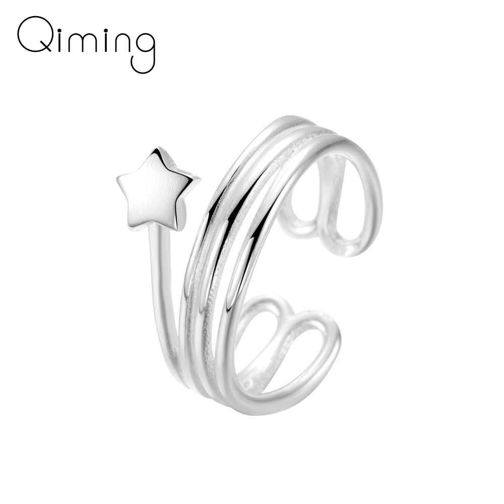 Многослойное безразмерное кольцо на палец с сердечками в форме звезды любви, обручальные ювелирные изделия, рождественский подарок для женщин и девочек