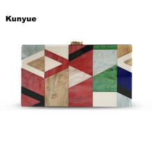 New wallet cute Messenger Bag Luxury Acrylic Evening Bag Geometric Lattice Patchwork Handbag women Party Prom chic Clutch purse