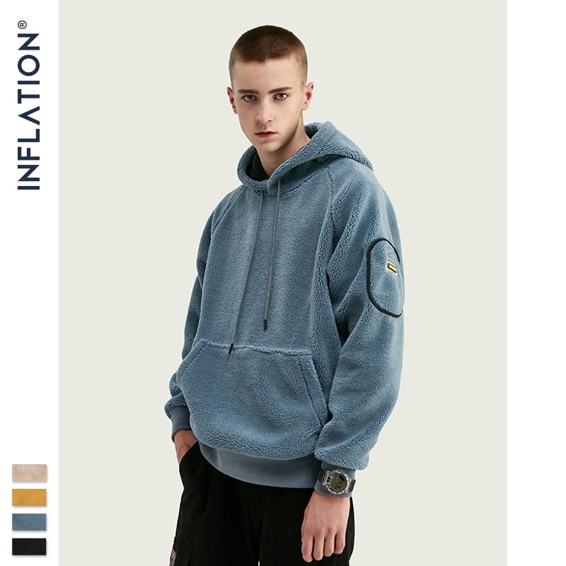 INFLATION Men Winter Thick Fleece Warm Hoodies Men Streetwear 2020 FW Polar Fleece Hoodies In Solid Color Men Hoodies 9659W