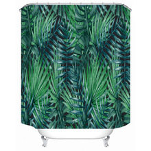 Nordic green leaf green plant polyester printed waterproof shower curtain bathroom partition curtain factory direct sales
