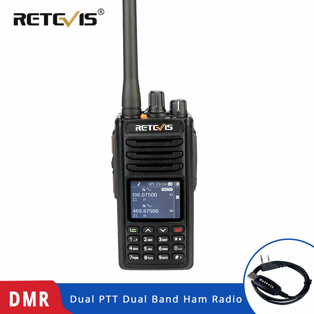 Chape RT52 DMR Radio talkie-walkie numérique double PTT double bande DMR VHF UHF GPS Radio bidirectionnelle cryptée jambon radioamateur + câble