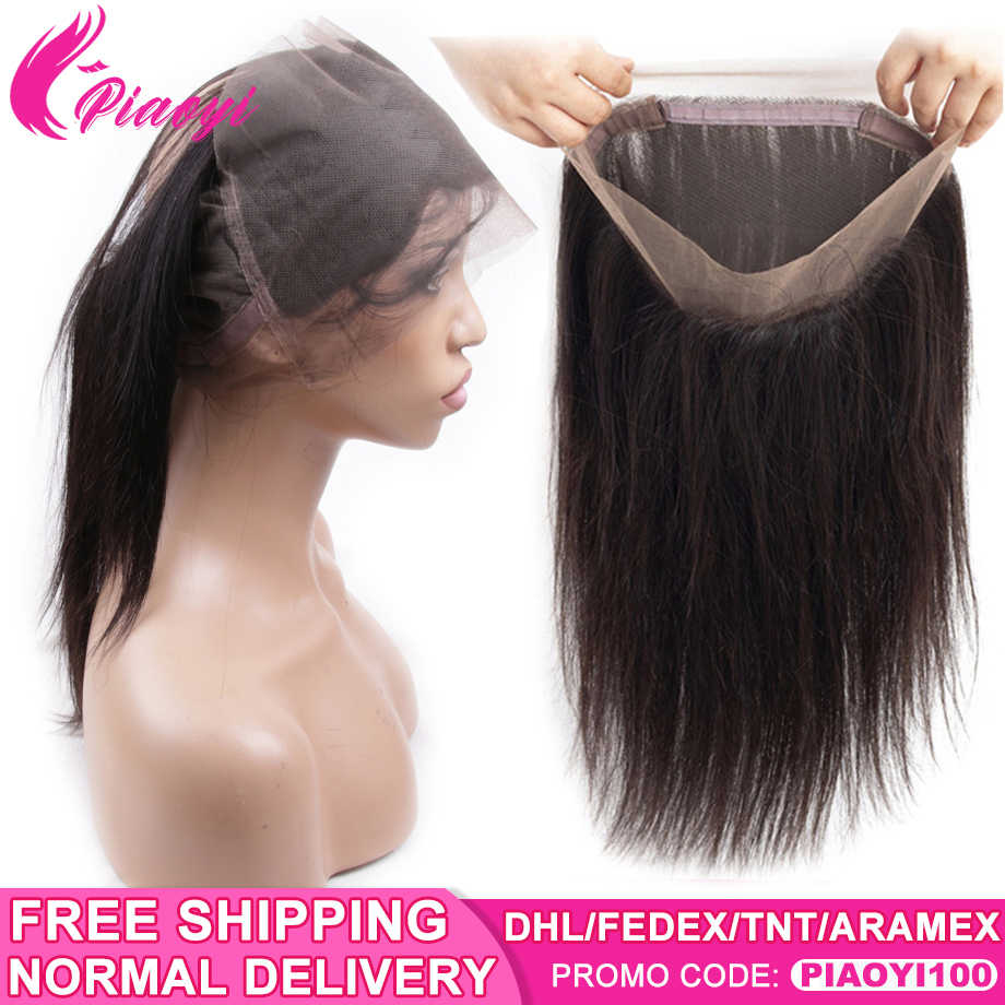 Piaoyi Pre Plucked Brazilian Straight Hair 360 Lace Frontal Closure With Baby Hair Remy Human Hair Extensions Natural Color