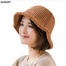 SUOGRY New Wool Folding Hat Knitted Beanie Cap Women Winter thick hats Outdoor Fishing Bucket Hats For Wholesale