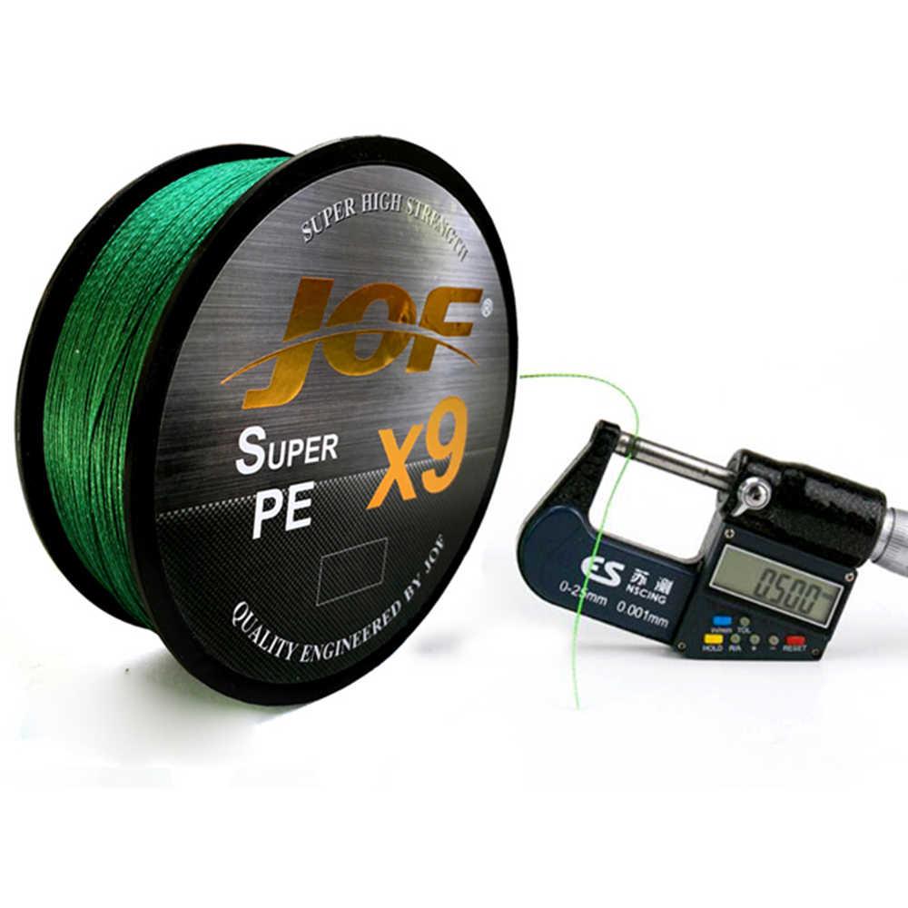 500 m x9 jof marca super forte japão multifilament 100% pe trançado linha de pesca 9 fios trançados 20lb a 80lb