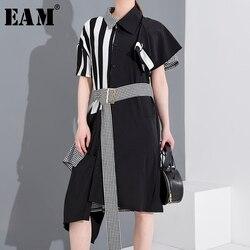 Женское платье-рубашка EAM, черное платье в полоску большого размера с отворотом и коротким рукавом, весенне-летняя мода 2020 1T34501