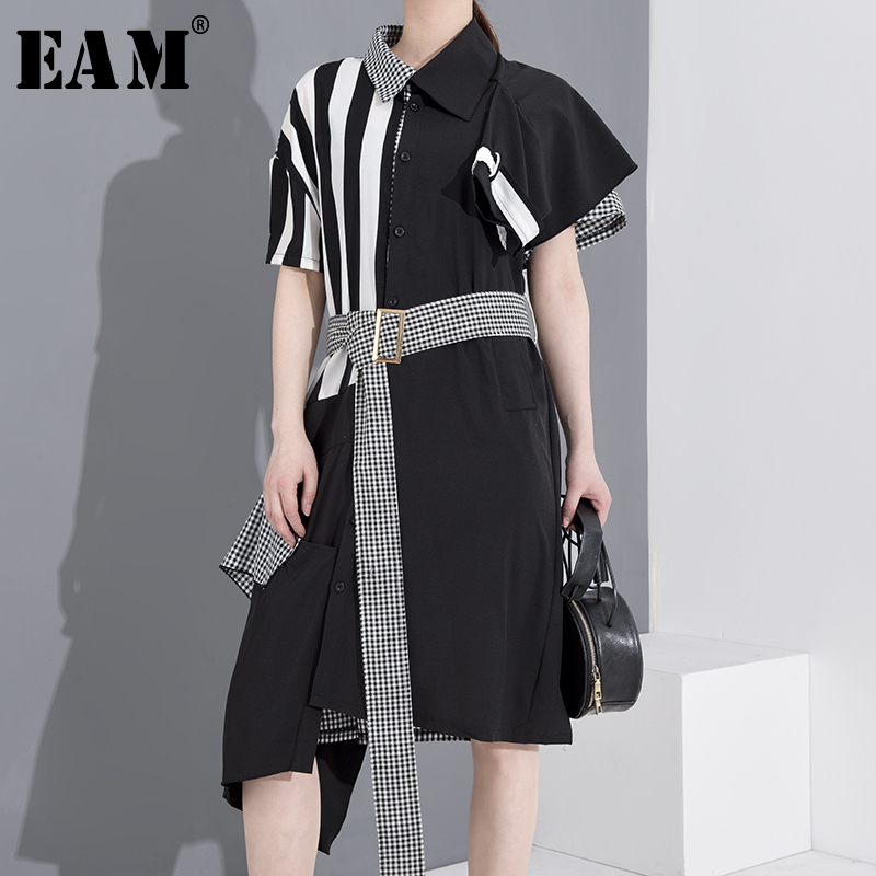 [EAM] Women Black Striped Plaid Big Size Shirt Dress New Lapel Short Sleeve Loose Fit Fashion Tide Spring Summer 2020 1T34501