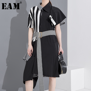 [EAM] Women Black Striped Plaid Big Size Shirt Dress New Lapel Short Sleeve Loose Fit Fashion Tide Spring Summer 2020 1T34501