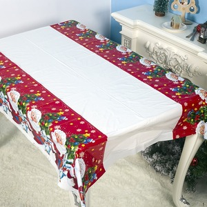 180*110cm Christmas Tablecloth Santa Claus Printed Rectangle PVC Tablecloth New Year Christmas Dinner Party Table Decorations