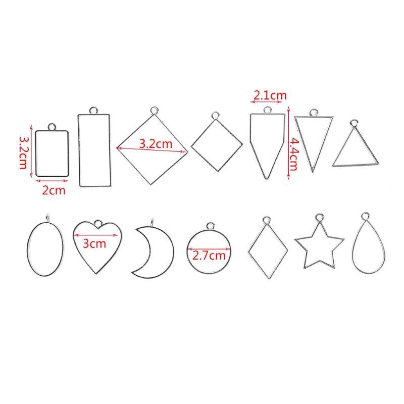 14 Pcs/set New DIY Alloy Geometry Epoxy Border Pendant Jewelry Making Accessories Frame