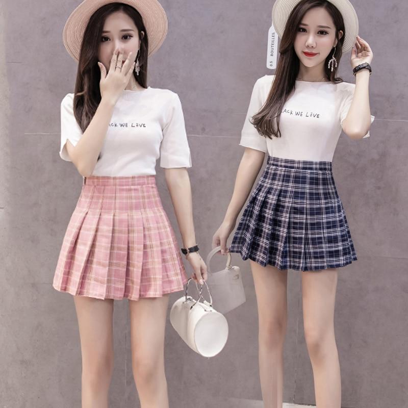 Miniskirt Soft Check Pattern Summer Short Skirt Lightweight A-Line Work Pleated Skirt Comfortable 3 Colors Girls Date