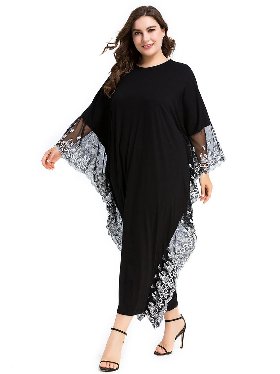 Muslim Women Bat Sleeve Embroidered Plus Size Dress Abaya Knitted Islamic Women Long Gowns
