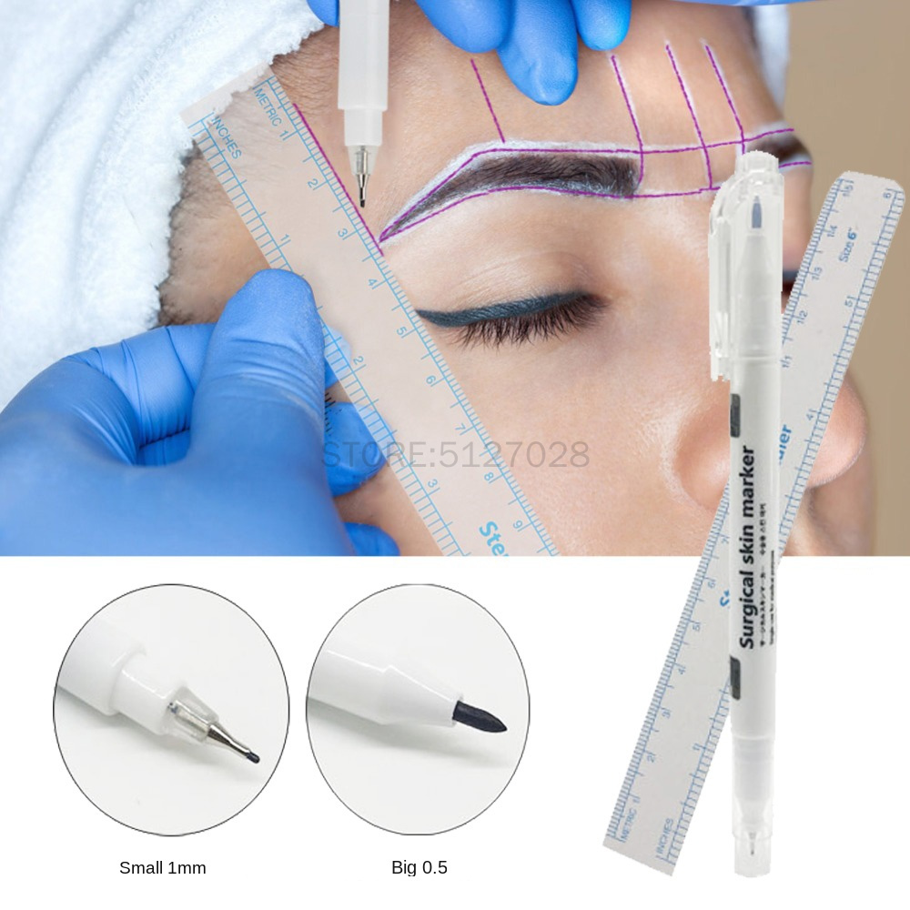 1Set Double-head Sterilized Tattoo Marker Pen Microblading Positioning Tool With Measuring Ruler Permanent Makeup Accessories