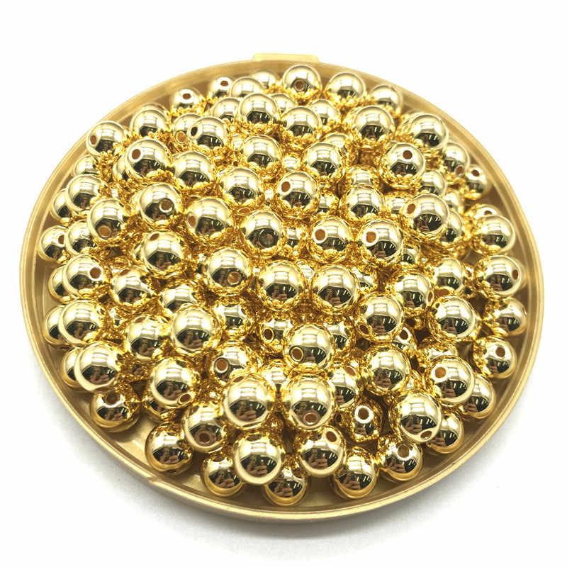 Commercio all'ingrosso di 3 4 6 8 10 12 millimetri 30-500pcs Oro/Gun-Metal Placcato CCB Rotonda seme Del Distanziatore Per Monili che fanno FAI DA TE