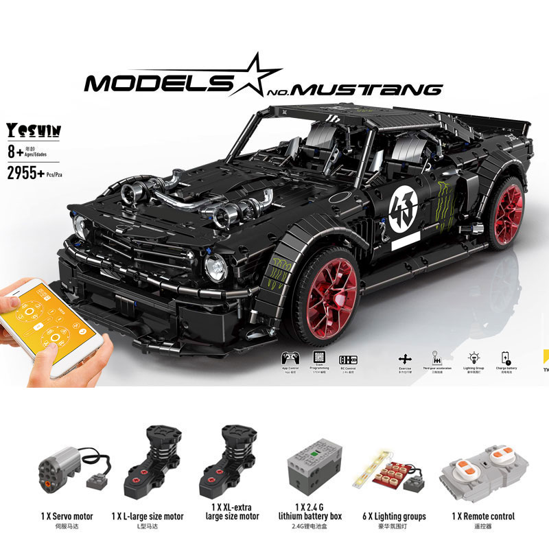 2019 New 1965 Ford Mustang Hoonicorn Racing Car Technic MOC-22970 FIT 20102 Building Block Bricks Kid Toys Christmas