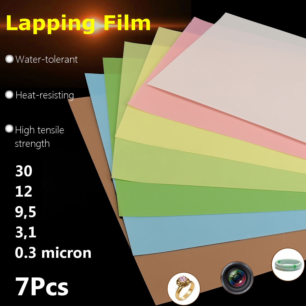 7pcs 8.7 X 11inch Lapping Film Sheets Assortment Precision For Polishing Sandpaper 1500/2000/4000/6000/8000/10000/12000 Grits
