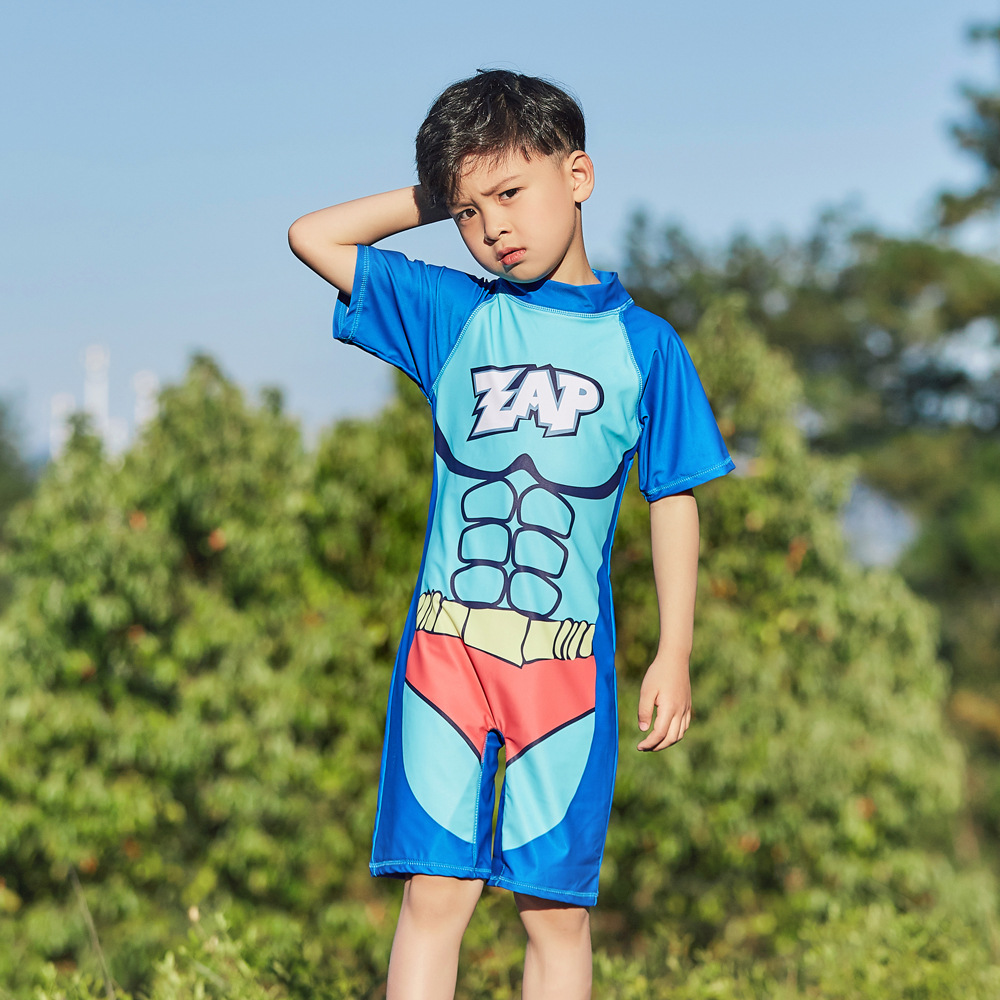 2019 New Style Hot Sales Siamese Swimsuit Short Sleeve Shorts Stand Collar Superman Cartoon Hot Springs BOY'S CHILDREN'S Swimwea
