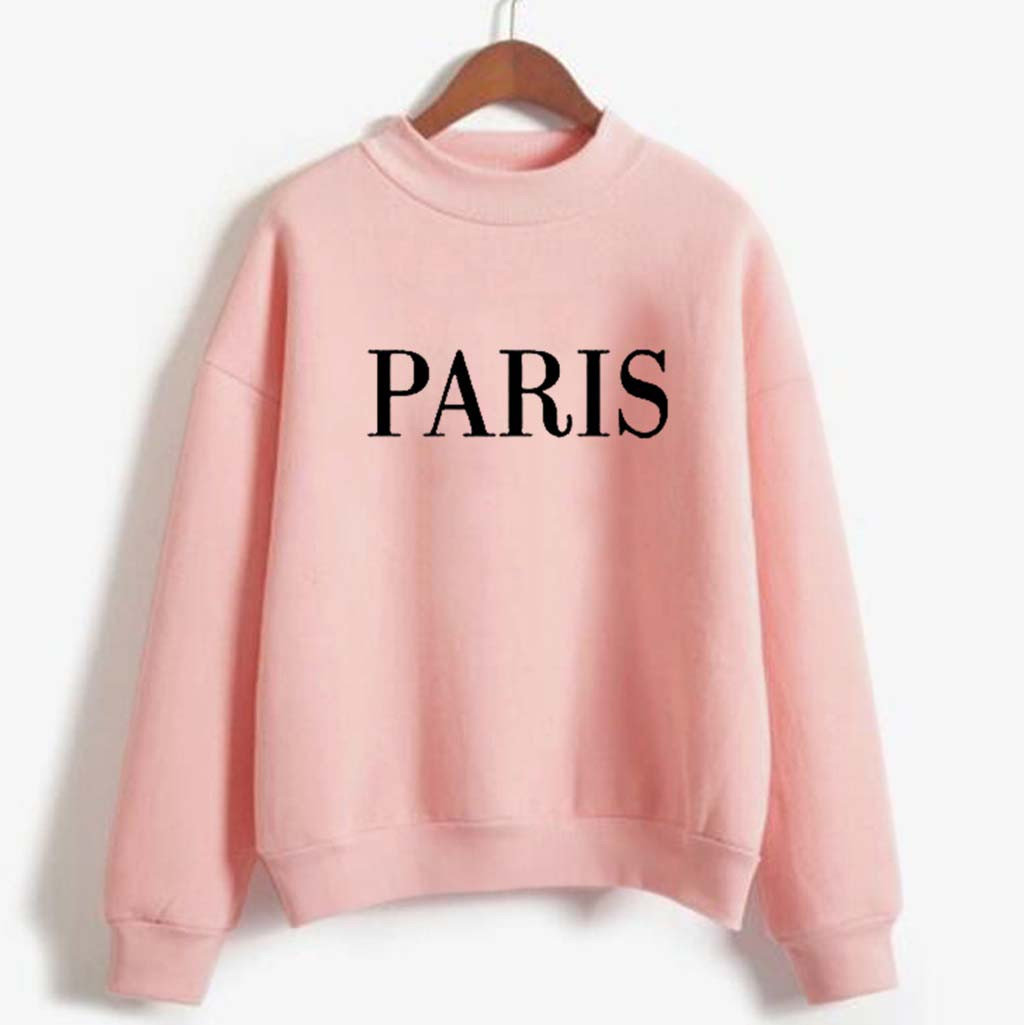 Pink Fleece Women's Hoody Sweatshirt Fashion Winter Printing High Collar Long Sleeve Plus Pullovers Sweatshirt Campus Tracksuit