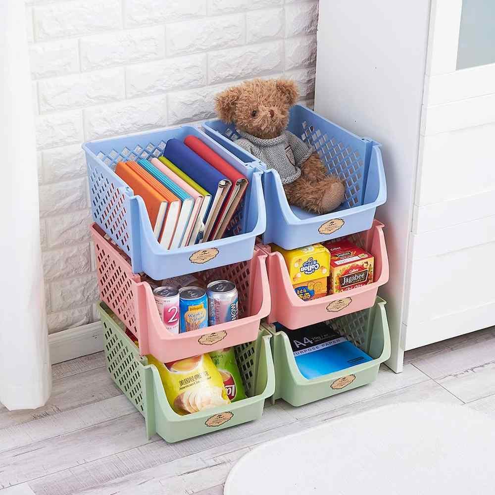 Einzigen Schicht Stapelbar Lagerung Korb Kunststoff Spielzeug Container Box Küche Snacks Gemüse Organizer Korb Bad Diverse Regal