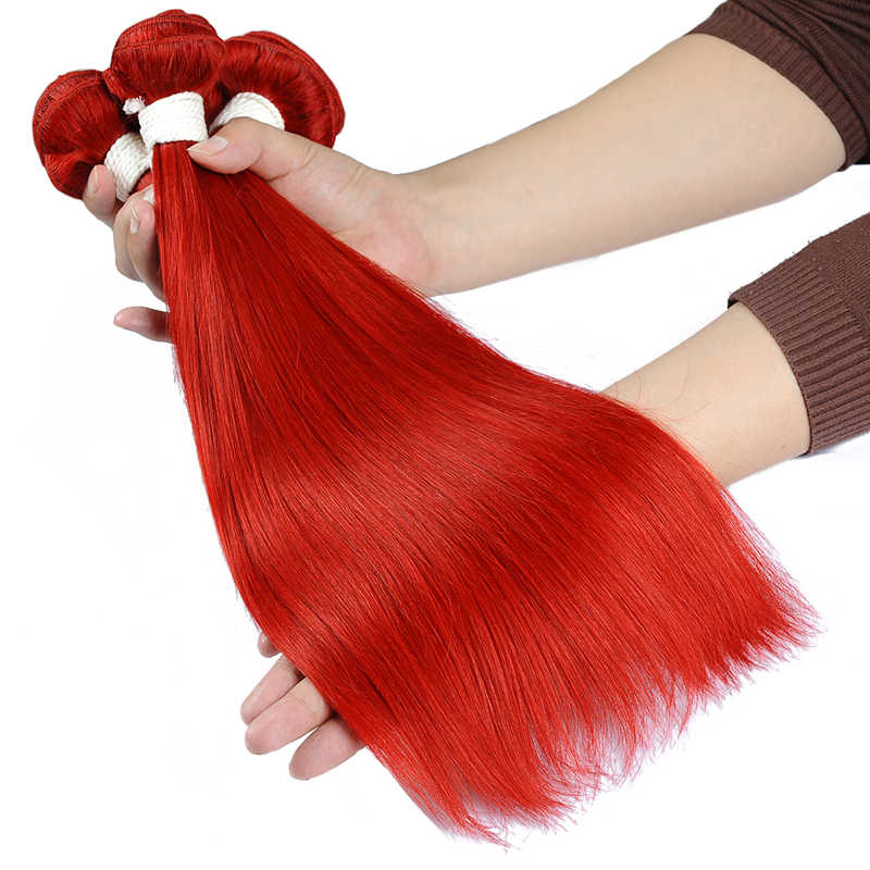Brazilian Human Hair 4 Bundles Pre-Colored Red 99J Burgundy Straight Hair Bundles Hair Weave Bundles Shining Star Non-Remy Hair
