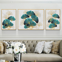 EECAMAIL DIY Diamond Painting Full Diamond Ginkgo Living Room Diamond Painting Triptych Modern Diamond Painting No Frame
